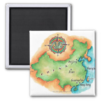 Map of China 2 Inch Square Magnet