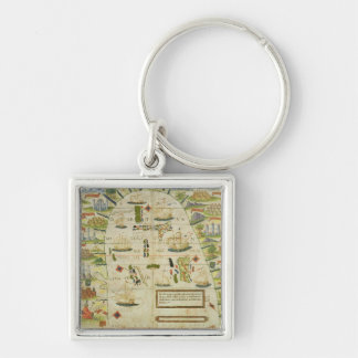 Map of China sea, facsimile of 'Miller Atlas' Keychain
