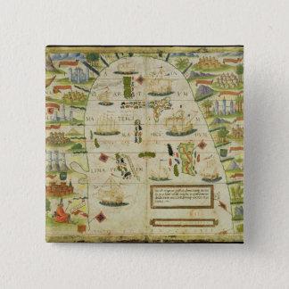 Map of China sea, facsimile of 'Miller Atlas' Pinback Button