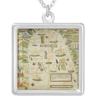 Map of China sea, facsimile of 'Miller Atlas' Square Pendant Necklace