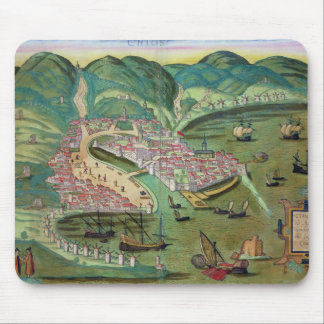 Map of Chios, from 'Civitates Orbis Terrarum' by G Mouse Pad