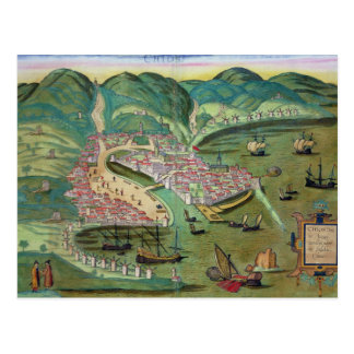 Map of Chios, from 'Civitates Orbis Terrarum' by G Postcard