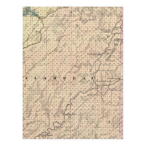 Map of Chippewa County northern part Postcard