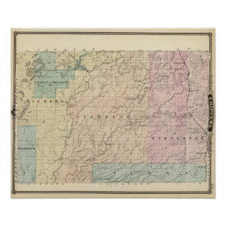 Map of Chippewa County northern part Poster