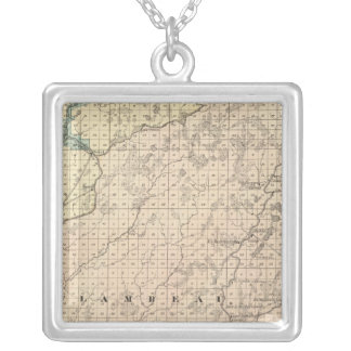 Map of Chippewa County northern part Silver Plated Necklace
