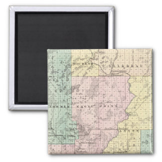 Map of Chippewa County southern part 2 Inch Square Magnet