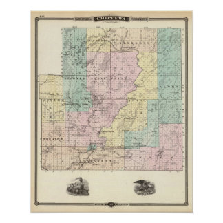 Map of Chippewa County southern part Poster