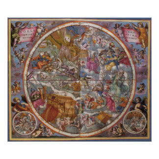 Map of Christian Constellations, Southern Skies Poster