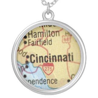 Map of Cincinnati Silver Necklace