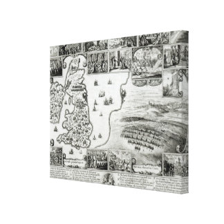 Map of Civil War England and a view of Prague Gallery Wrapped Canvas