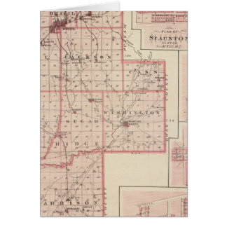 Map of Clay County with Staunton Harmony Greeting Cards