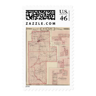 Map of Clay County with Staunton Harmony Postage Stamp