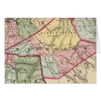 Map of Clay Webster Nicholas Fayette counties Greeting Card
