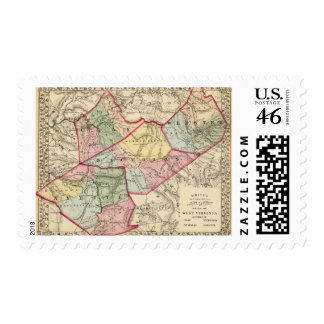 Map of Clay Webster Nicholas Fayette counties Postage Stamp