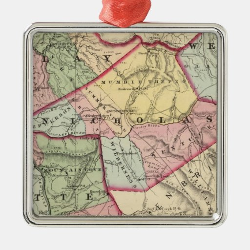 Map of Clay, Webster, Nicholas, Fayette counties Square Metal Christmas Ornament