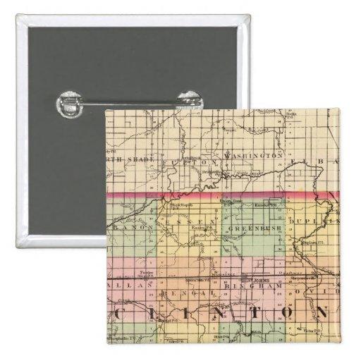 Map of Clinton County, Michigan Pinback Button