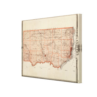 Map of Clinton County, State of Iowa Canvas Print