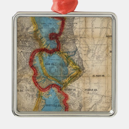 Map of Colorado Territory Metal Ornament