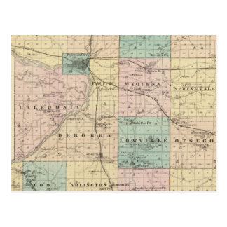 Map of Columbia County, State of Wisconsin Postcard