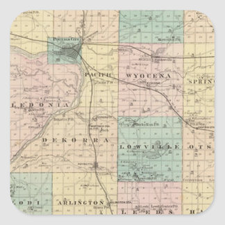 Map of Columbia County, State of Wisconsin Square Sticker