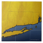 Map of Connecticut Large Square Tile