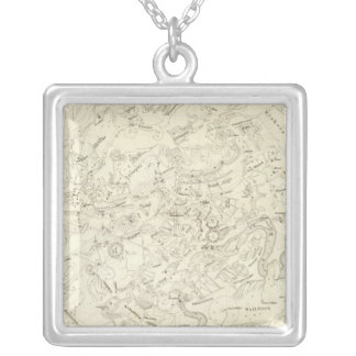 Map of Constellations 2 Square Pendant Necklace