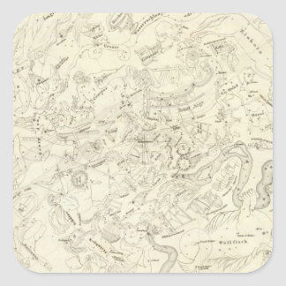 Map of Constellations 2 Square Sticker