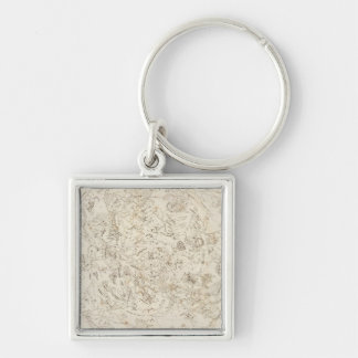 Map of Constellations Silver-Colored Square Keychain