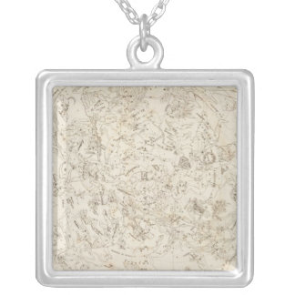 Map of Constellations Square Pendant Necklace