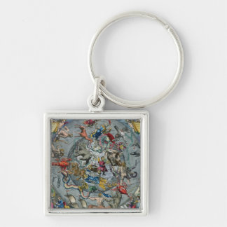 Map of Constellations of the Northern Silver-Colored Square Keychain