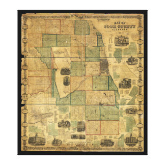 Map of Cook County, Illinois (1861) Canvas Print
