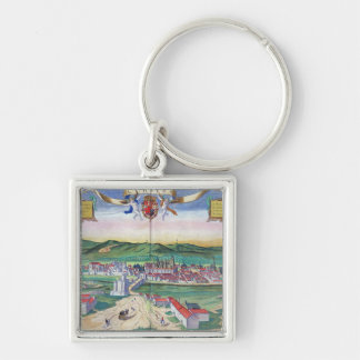 Map of Cordoba, from 'Civitates Orbis Terrarum' by Silver-Colored Square Keychain