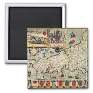 Map of Cornwall 2 Inch Square Magnet