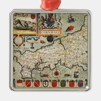 Map of Cornwall Square Metal Christmas Ornament