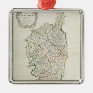 Map of Corsica Metal Ornament