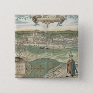Map of Cracow, from 'Civitates Orbis Terrarum' by Pinback Button