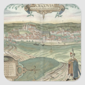 Map of Cracow, from 'Civitates Orbis Terrarum' by Square Sticker