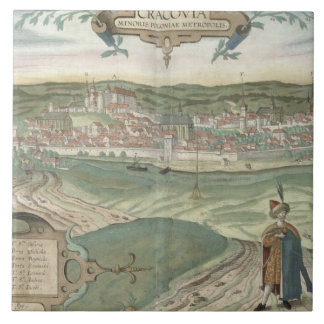 Map of Cracow, from 'Civitates Orbis Terrarum' by Large Square Tile
