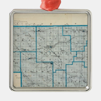 Map of Crawford County Square Metal Christmas Ornament
