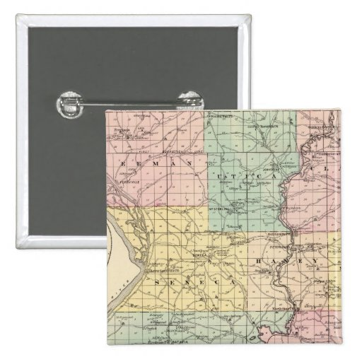 Map of Crawford County, State of Wisconsin 2 Inch Square Button