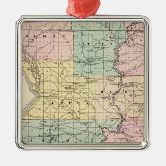 Map of Crawford County, State of Wisconsin Metal Ornament