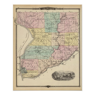 Map of Crawford County, State of Wisconsin Poster