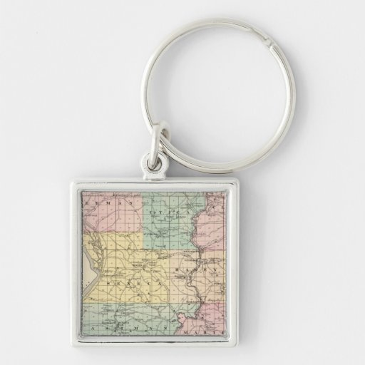 Map of Crawford County, State of Wisconsin Silver-Colored Square Keychain