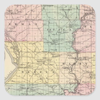 Map of Crawford County, State of Wisconsin Square Sticker