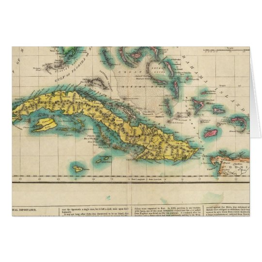 Map Of Cuba And The Bahama Islands Card