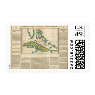 Map Of Cuba And The Bahama Islands Postage