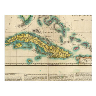 Map Of Cuba And The Bahama Islands Postcard