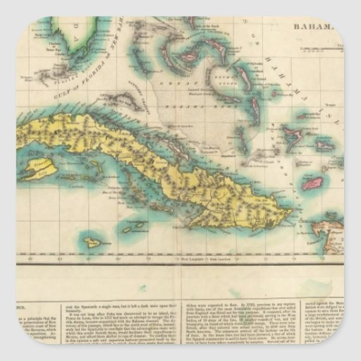 Map Of Cuba And The Bahama Islands Square Sticker