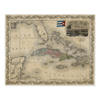 Map of Cuba by J.H. Colton (1851) Poster