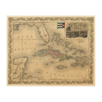 Map of Cuba by J.H. Colton (1851) Wood Wall Art